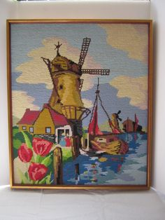 Dutch Harbor Finished Needlepoint Tulips Sailing Ship Crewel Embroidery Windmill Colorful Seaside Port Gold Frame Beautiful by LuckyPennyTrading on Etsy