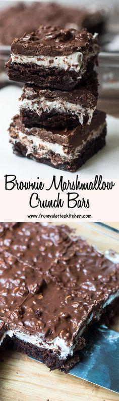 Brownie Marshmallow Crunch Bars www. Brownies Recipes Brownie Marshmallow Crunch Bars www. Brownie Recipes, Cookie Recipes, Dessert Recipes, Bar Recipes, Brownie Desserts, Recipies, Yummy Treats, Sweet Treats, Yummy Food