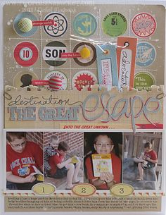 layout by Nichol Magouirk - love the circle embellie background in a stitched grid