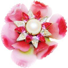 Vintage Vrba Ruffled Glass Flower Brooch Fx Pearls Rhinestones