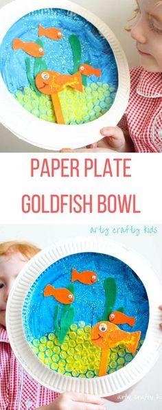 Paper Plate Goldfish Bowl Craft - Arty Crafty Kids