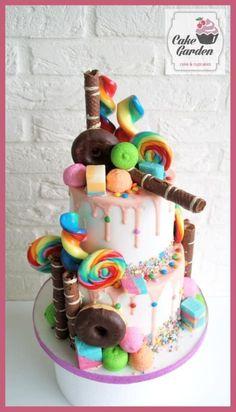 lollie go loco drip cake - Cake by Cake Garden Houten / Candy Cakes, Cupcake Cakes, Cupcakes, Unique Cakes, Drip Cakes, How To Make Cake, Sweets, Birthday Cakes, Desserts