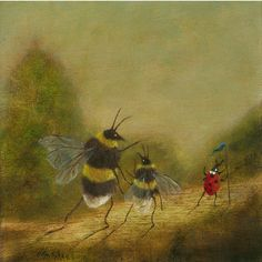 """Fine Art Print of an Original Animal Painting: """"The Queen and Her Daughter Led by Her Venerable Retainer"""" (Worker Bee) Buzzing Artwork Cute Bee, Bee Art, Foto Instagram, Art Inspo, Art History, Art Reference, Watercolor Art, Illustration, Cool Art"""