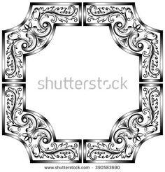 Vintage baroque frame scroll ornament engraving border floral retro pattern antique style acanthus foliage swirl decorative design element filigree calligraphy wedding