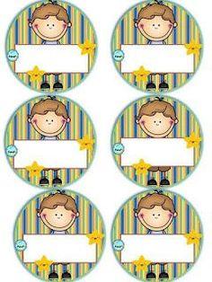 Badges for Kindergarten Children - Preschool Children Akctivitiys First Day Of School, School Days, Pre School, Classroom Labels, Classroom Decor, School Labels, School Clipart, School Frame, School Decorations
