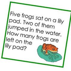 Preschool Math Word Problems- use with counting bears....each child gets a baggy of 5 bears and an envelope.   5 bears are in your bag.   Put 2 bears in the envelope.   How many bears are left in your bag?