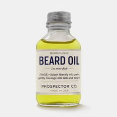 """Beard-management products from Savannah, GA's Prospector Co., including aftershaves like the K.C. Atwood (witch hazel, sweet orange, aloe) and beard oils like the sandalwood Burroughs, which they claim smells like """"freshly chopped forest woods and a dusty carpenter's workshop. #shaving #cleaning"""