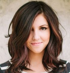 dark brown hairstyle with chestnut lowlights