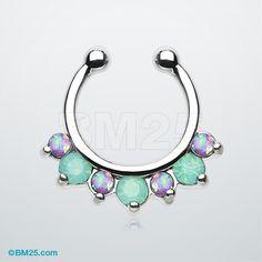 Opal Sparkle Deuce Fake Septum Clip-On Ring