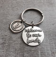 Welcome to our family, son in law, Adoption, foster, Daughter in law Jewelry, Daughter in law Gift, Silver Keychain, SIlver Keyring, Gifts by SAjolie, $17.95 USD