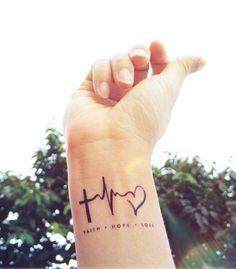 27. Awesome Cross Ekg Heart Faith Hope Love Heartbeat Tattoos On Wrist #tattoosforwomenonwrist
