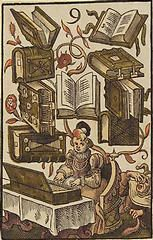 'The Nine of Books', coloured woodcut from Jost Amman's 'Charta lusoria...
