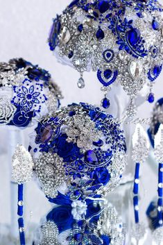 Royal blue brooch wedding bouquets package - Crazy N Love