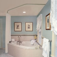 Garden tub with shower curtain rod for bathrooms remodel corner garden tub corner garden tub shower Corner Bathtub Shower, Bathroom Tub Shower, Corner Tub Shower Combo, Bathroom Ideas, Paint Bathroom, Master Bathroom, Glass Shower, Bathroom Signs, White Bathroom