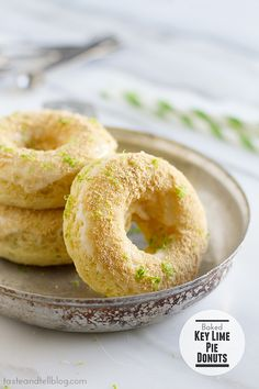 Baked Key Lime Pie Donuts | Baked donuts are made with a touch of key lime, then topped with a sweet key lime glaze and graham cracker crumbs for that key lime pie touch. | From:  tasteandtellblog.com