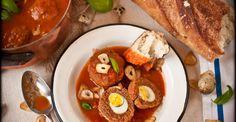 meatballs stuffed with quail egg in a spicy tomato sauce - Chef Ron Arazi