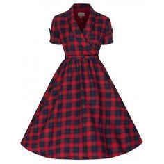 Lindy Bop Courtney blue/red tartan swing dress - Little Wicked's Emporium