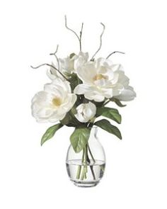 Pictures of Magnolia Arrangements | Silk Magnolias: Lifelike Silk Flower Arrangement in a Vase