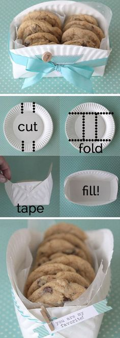 DIY Cookie Basket Made from a Paper Plate   40 DIY Gift Basket Ideas for Christmas   Handmade Gift Ideas for Christmas