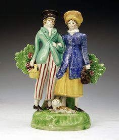 English Staffordshire pottery figure of the Dandies c1820