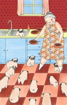 "This will be me someday. An old lady with a house of pugs, instead of the typical ""cat lady."" My children will definitely worry that I have lost my mind. Jon will probably move out. I will be a pug hoarder. ;)"