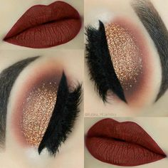 Pinterest @IIIannaIII Cute Makeup, Gorgeous Makeup, Pretty Makeup, Sleek Makeup, Glamorous Makeup, Maroon Matte Lipstick, Matte Red, Maroon Makeup, Bold Lipstick