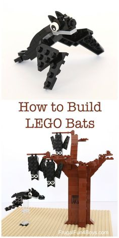 How to Build LEGO® Bats - Frugal Fun For Boys and Girls - How to Build LEGO®️️ Bats – Building instructions for two types of bats. How fun for Hallowe - Lego Halloween, Halloween Diorama, Lego Design, Lego Disney, Legos, Lego Poster, Sean Parker, Lego Challenge, Lego Club