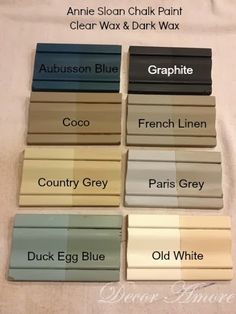 My Annie Sloan Chalk Paint Color Boards. Annie Sloan Chalk Paint is a great way to up cycle some drab furniture. Cores Annie Sloan, Couleurs Annie Sloan, Annie Sloan Chalk Paint Colors, Annie Sloan Paints, Annie Sloan Painted Furniture, Annie Sloan Graphite, Distressed Furniture, Annie Sloan Colours, Annie Sloan Colour Chart