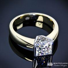 Princess Half Bezel Solitaire Engagement Ring | 16002