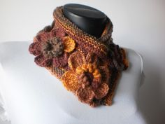 crochet scarves | Flower Crochet Scarf Cowl Scarf Autumn Accessories Neck Warmer Cowl ...