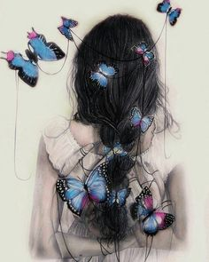 """red-lipstick: """"Marie-Esther aka Gaia Alari (Italy) - Flimsy Little Sweet Talks, 2014 Mixed Media: Watercolors, Colored Pencils, Pencils, Ballpoint Pen on Smooth Paper """" Chibi Manga, Butterfly Art, Butterflies, Art And Illustration, Pretty Art, Anime Art Girl, Anime Girls, Cute Drawings, Fantasy Art"""