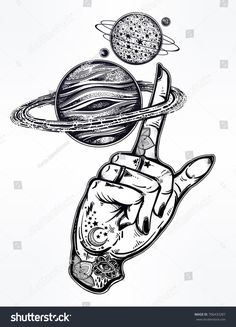 Flash tattoo style astronomy. Inked human hand, finger spinning Saturn space planet. Dotwork ink tattoo vintage design. Vector illustration isolated. Astrology, alchemy, magic, nature symbol art. #TattooIdeasVintage #TattooIdeasDibujos