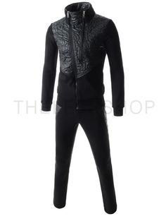 (RBS117-BLACK) Mens Asymmetry Zipper Leather Patch Napping Training Jacket Pants Set