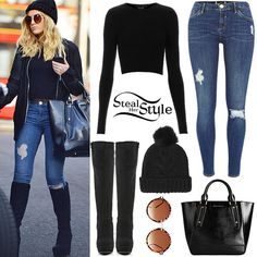 Topshop Rib Crop Top ($50.00), a pair of River Island Amelie Superskinny Reform Jeans ($80.00), a Topshop Cable Faux Fur Pom Beanie ($28.00), her ASOS Round Sunglasses ($22.85)