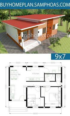House plans with 2 bedrooms - sam house plans home design, home design Little House Plans, Dream House Plans, Modern House Plans, Small House Plans, House Floor Plans, 3d Home Design, Home Design Floor Plans, Simple House Design, Modern House Design