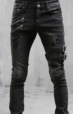 THE BLACK 8* Two Zipper Buckle Jeans