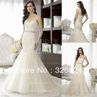 Wholeslae-2013 New Fashion  sweetheart  Neckline Lace Applique Beaded Waistline  Mermaid wedding Bridal Gown dress D1431