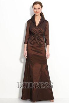 Linha-A/Princesa Gola-V Chão-comprimento Tafetá Vestidos para Mãe da Noiva