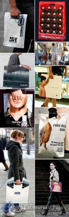 Why can't we have funny bags like this in Canada? We're funny too! Street Marketing, Guerilla Marketing, Print Advertising, Creative Advertising, Advertising Ideas, Advertising Campaign, Cool Packaging, Packaging Design, Memes Gratis