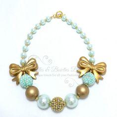 Aqua & Gold Bow Bubble Gum Kids/Baby Necklace & Bracelet Set