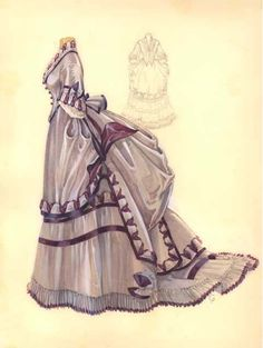 Watercolor of a dress ca. early 1870's, unknown source