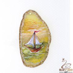 Fashion Pendant Hand Painted Sailing Pendant Natural Gemstone necklace ZL804439 #ZL #Pendant