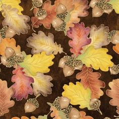 Harvest Bounty 100% Cotton Fabric sold by the YARD (36x44) leaves & acorns #QuiltingTreasures