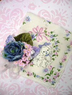 Vintage Dog Print Hankie Handkerchief and Matching Mini by meaicp, $20.00