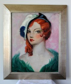 1940s Lady Oil Painting on Canvas ~ French $625