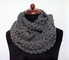 gray crochet scarf, neck warmer gray, double wrap neckwarmer, infinity scarves, handmade crochet scarf, double neck handmade crochet #etsy Crochet Scarves, Crochet Hats, Warm Grey, Gray, Neck Scarves, Neck Warmer, Headbands, Beanie, Trending Outfits