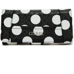 GUESS Delaney Polka-Dot File Clutch ($40) ❤ liked on Polyvore featuring bags, handbags, clutches, purses, black multi, handbag purse, polka dot handbags, hand bags, faux-leather handbags and purse satchel