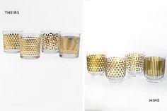 diy mugs. adhesive vinyl on glasses