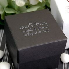 Personalized 2-Piece Square Favor Boxes by Beau-coup