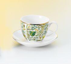 Feliratos aranyozott teáscsésze Tea Cups, Tableware, Gourmet, Dinnerware, Tablewares, Dishes, Place Settings, Cup Of Tea